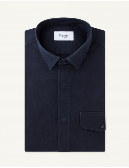 Chemise Maël Contemporaine en twill stretch marine