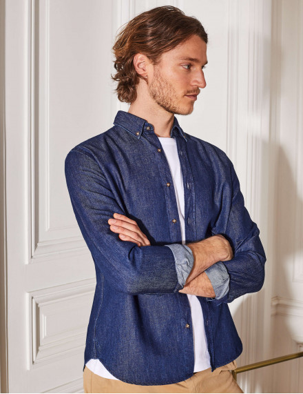 Chemise Gaston Contemporaine en denim marine