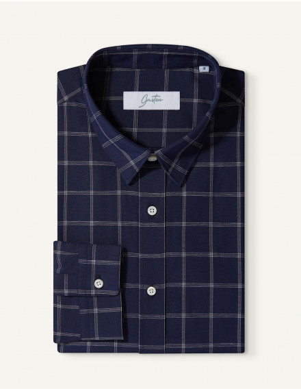Chemise Gaston Contemporaine en popeline à carreaux marine