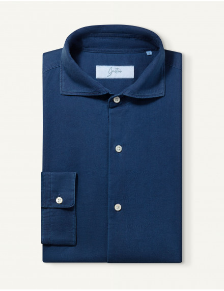 Chemise Contemporaine en twill bleue