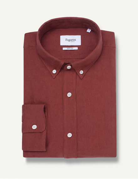 Chemise Contemporaine en lin marron