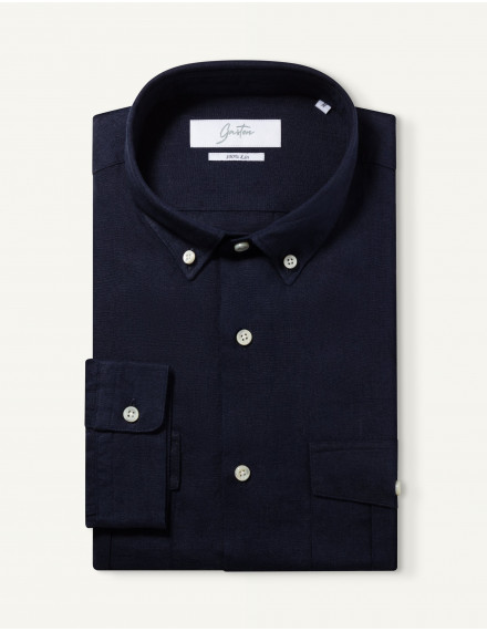 Chemise Gaston Contemporaine en lin marine