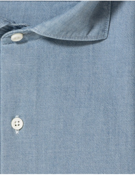 Chemise Contemporaine en chambray bleu