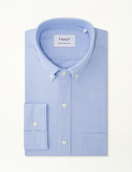 Chemise Contemporaine en Oxford bleu